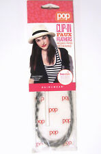 "Pop Clip-In Faux Feathers Hair Extension 2-Piece 16"" Long Black/White NEW 11P077"