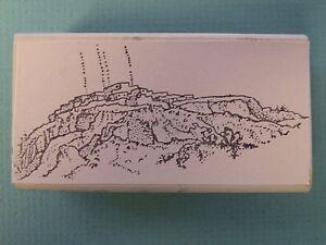 Rocky Landscape Mountaintop Rubber Stamp