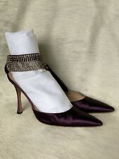 Manolo Blahnik Purple Satin And Diamanté Strap Shoes 41