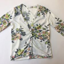 Tightrope Pastel Floral V-neck Button-down White Cardigan, Size 12