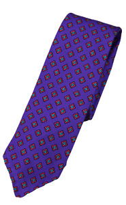 NWT - Drake's – Purple Silk Tie w/Red & Green Diamond Print, Made in England