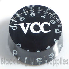 Acrylic / black VCC guitar control knob  0-10 scale tone and Volume