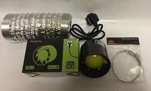 """4"""" Inch 100mm Extractor Inline Intake Grow Room Fan 3M Ducting & 2 Ducting Clips"""
