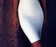 Women Pencil Bodycon Skirt Striped Knee-Length Bandages Polyester Spandex Skirts