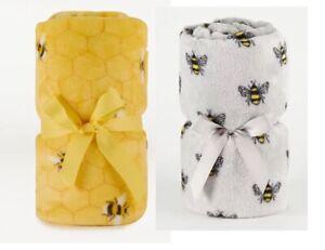 Bumblebee Throw Fleece Bee Blanket Cover NEW 120cm x 150cm