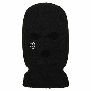 Prolific Unisex Black 100% Acrylic Embroidered Broken Heart Ski Mask
