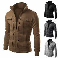 Men's Tactical Stand Collar Jacket Motorcycle Bomber Biker Coat Outwear Black
