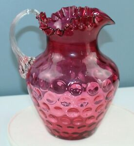 Antique CRANBERRY GLASS Pitcher REEDED HANDLE Inverted Thumbprint