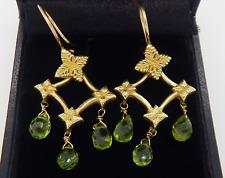 18k Yellow Gold Natural Peridot Briolette Drop Chandelier Earrings 6.3 Grams