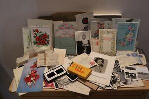 Job lot mixed family ephemera photos cards papers slides 1940's onward