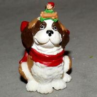 "Christmas Ornament Animal DOG Ceramic w/ Bone & Pixie On Head 2"" USA SELLER"