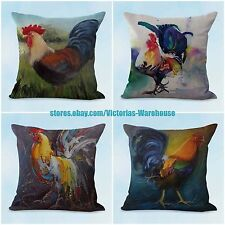 US SELLER, 4pcs pillow couch cushion covers farmhouse animal rooster chicken