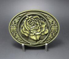Rose Flower Western Oval Bronze Plated Belt Buckle
