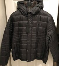 Mens's Andrew Marc Down Jacket With Rabbit Fur Collar
