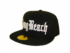 Black & White Long Beach Los Angeles Flat Bill Snapback Baseball Cap Caps Hat