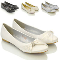 Womens Bridal Wedding Satin Pumps Ladies Slip On Bridesmaid Ballet Shoes Size
