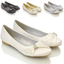 Womens Bridal Wedding Satin Pumps Ladies Slip On Bridesmaid Ballet Shoes Size