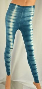 New HAPPY TIE DYE Teal Blue Front Stripes Leggings M-XL American Apparel