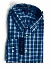 Structure Dress Shirt Fitted Wrinkle Free Blue Check Cotton Blend