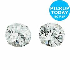 Round Cubic Zirconia White Gold Filled Costume Earrings