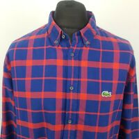 Lacoste Mens Vintage THICK Shirt Oxford 45 2XL Long Sleeve Red Check Lumberjack