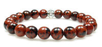 BRACELET - MAHOGANY OBSIDIAN 8mm Round Crystal Bead with Description- Healing