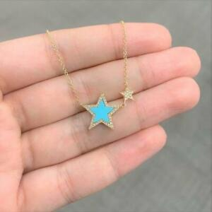 """18K Yellow Gold Over Turquoise & Diamond Double Star Pendant 18"""" Chain Necklace"""