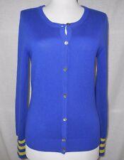 Trina Turk Cardigan Sweater Sz S Silk Cashmere Thin Knit Blue Green Soft VEUC