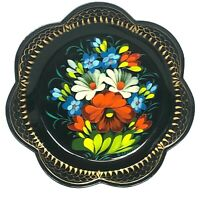 """Vintage Zhostovo Tray Russian USSR 7"""" Metal Toleware Signed Hand Painted Scallop"""