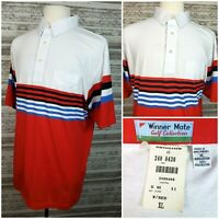 Vtg Winner Mate Golf Collection Mens XL S/S Striped Polo Shirt Cotton/Poly NWT