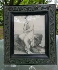 "Antique Picture Frame~Outstanding Art Nouveau Curvilinear Design~8"" x 10"" Image"