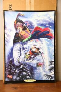 Levi's Denim Jeans Vintage Poster Advertising Display Sign 1990 Snowboarding