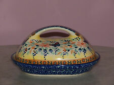 Genuine UNIKAT Polish Pottery Fancy Butter Dish! Butterfly Summer Pattern!
