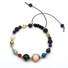 Solar System Galaxy Space Eight Planets Stone Braided Bead Bracelet Jewelry Gift Purple