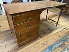 Larkin Oak Folding Drop Leaf Sewing Table Desk