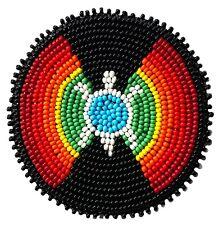Native style Ethnic Handmade Beaded Turtle Craft Applique Patch Beadwork R58/15