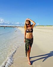 Women Sarong Dark Green Summer Beach Bikini Coverup Pareo FRINGELESS Wrap