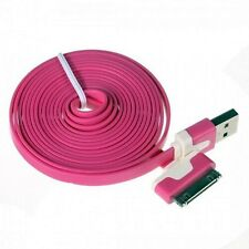 Long 2m USB Cable for iPhone 4S 4 iPad 3 2 Data Sync Charger Flat Lead Pink