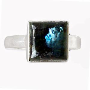 Larvikite Stone - Black Moonstone - Norway 925 Silver Ring s.8.5 BR90423