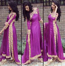 Womens Long Sleeve Chiffon Lace Long Dress Party Evening Wedding Formal Saree AU