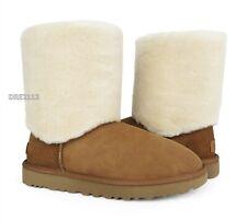 UGG Classic Short II Sherpa Cuff Chestnut Fur Boots Womens Size 8 *NIB*