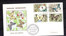 Centrafrique  enveloppe 1er jour  série de 4 papillons  1963
