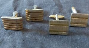 2 pairs gold colour cufflinks square Costume jewellery smart shirt fastening 19S