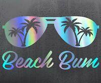 BEACH BUM Chrome holographic vinyl sticker funny car decal JDM DUB bumper