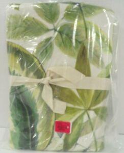 "Pottery Barn Palm Print Linen Cotton Rod Pocket Drape 96 x 50"" Green #8957"