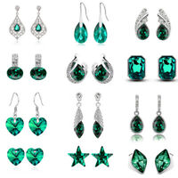 Emerald Green Christmas Women Dangle Drop Stars Almond Silver Long Earrings