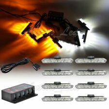 8In1 32W LED Amber White Warning Dash Split Grill Signal Security Strobe Lights