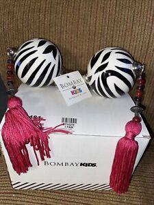 BOMBAY KIDS~Pair Of Curtain Rod Finials Zebra Stripes/ Pink Tassels - NEW IN BOX