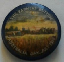 Australia Day Wwi (July, 1918) Farmers Day, Color Pin Back, Button Badge, Clear