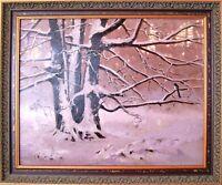 Framed Original Oil, Signed – BEECHES IN THE SNOW – Dutch Artist, Marya Verhaar